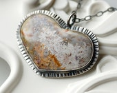 RESERVED - Handcrafted Heart Necklace in Sterling Silver and  Mexican Lace Agate