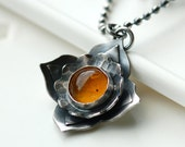 COUPON SALE - 30% OFF - Botanical Pendant Necklace in Oxidized Sterling Silver and Baltic Amber