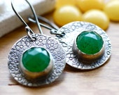 SALE 30% OFF - Textured Artisan Earrings with Green Jade and Oxidized Sterling Silver...Rustic Metalwork Earrings