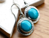 Summer Day Earrings in Oxidized Sterling Silver and Turquoise- Everyday - Gift for a Friend