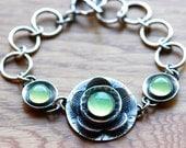 Modern Bracelet in Oxidized Sterling Silver and Chalcedony Handmade Artisan Bracelet Botanical Metalwork