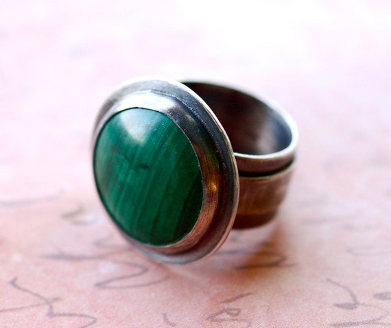 EASTER WEEK SALE - Malachite Cocktail Ring in Sterling Silver