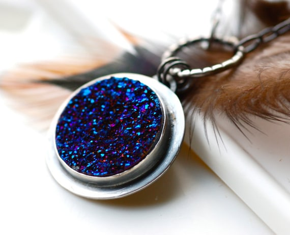 Cobalt Blue Druzy Necklace Handcrafted in Sterling Silver