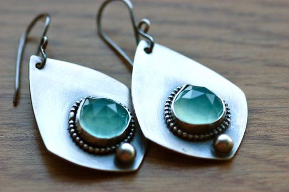 SALE - Use COUPON Code 20off -  Stillwater Earrings...Handmade in Sterling Silver and Aqua Chalcedony...Artisan Metalwork