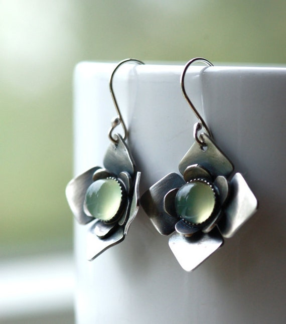 20% Fall SALE - Use COUPON Code FALL2012 - Modern Unique Earrings in Silver and Green Chalcedony Oxidized Metalwork