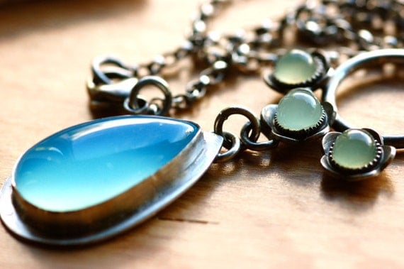 Blue Lagoon Necklace in Silver and Chalcedony  One of a Kind Necklace in Summery Colors