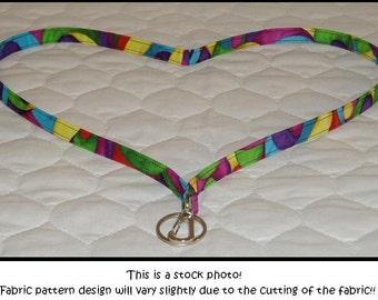 Lanyard ID badge holder multi colored swirl fabric