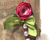 Romantic Shades of Red Fabric Flower Necklace with Pink Beads and Green Ribbon
