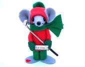 Felt Mouse Christmas Ornament Guy Golfer Pewter Club Fun Guy Gift Sports Gift Red Green