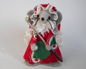 Lady Golfer Christmas Felt Mouse Ornament Avid Golfer Gift Red Green Pewter Club