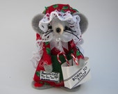 Christmas Shopper Felt Mouse Red and Green Born to Shop Shopaholic Mom Friend