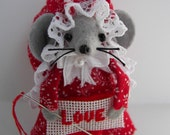 Felt Mouse Needlepointer Love Mice Stitcher Valentine Gift by Warmth