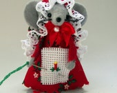 Christmas Ornament Cross Stitch Mouse felt mice cute gift  animal lovers collectible