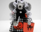 Felt Halloween  Mouse Trick or Treating Orange Black Collectable Mice Ormanent Decoration