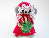 Christmas Mouse Ornament Candy Cane Basket Felt Mice Holiday Red and Green