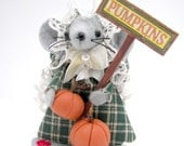 Halloween Pumpkin Sellin' Penny Mouse - one of the cute gift  felt mice and  ornaments for animal lovers and collectors by Warmth