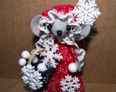 Christmas Ornament Snowflake Mouse-one of the felt mice gifts for animal lovers and collectors by Warmth