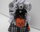 Felt Mouse Handmade Animal Halloween Mouse Jack-O-Lantern Black and Orange by Warmth