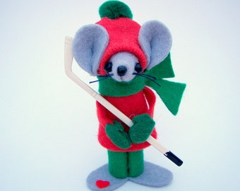 Hockey Mouse Christmas Ornament Felt Mouse Sports Guy Gift Red Green Athlete