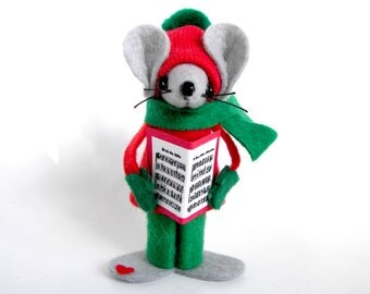 Felt Mice Caroler Musical Christmas Ornament Choir Mouse Whimsical Singing Mouse by Warmth