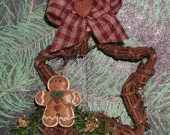 Gingerbread onTwig Star Christmas Ornament Primitive  by Warmth