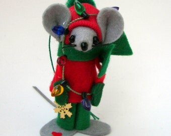 Christmas Ornament Male Decorator Felt Mouse Lights and Ornaments Bah Humbug Mice Red and Green
