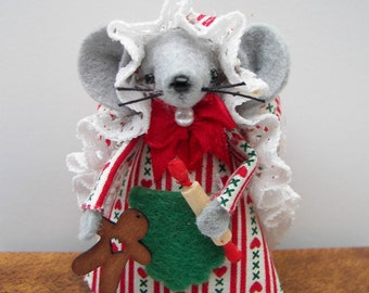 Christmas Ornament Mouse Gingerbaker-one of the felt mice cute gift for animal lovers and collectors by Warmth by Warmth