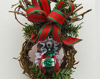 Woodland Christmas Mouse Nest-one of the sweet Holiday Hanging Mouse Nests by Warmth
