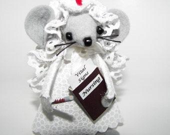 Nurse Felt Mouse Gift for Graduate Nursing Student Ornament