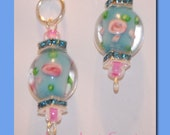 Sterling Silver Dangle Earrings with Round Aquq Flower Lampwork Beads and Swarvoski Aqua Crystal Rondelles.