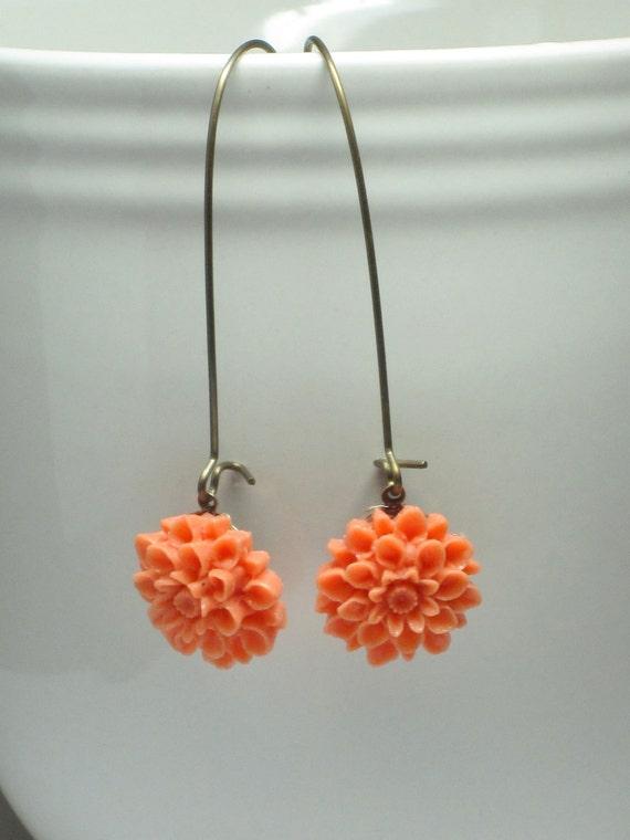 Coral Dahlia Earrings