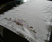 Vintage spring floral table cloth runner hand embroidered.