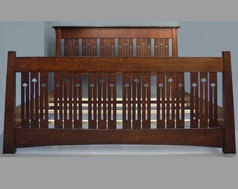 ARTS and CRAFTS King Bed, Mackintosh Style with a tall footboard