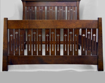 QUEEN BED, Mackintosh, Arts and Crafts, Mission, Quartersawn Oak,