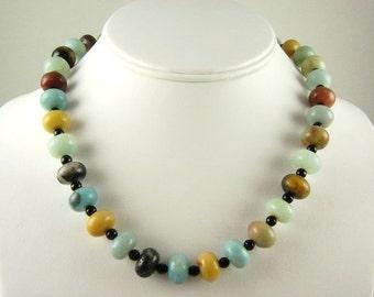 Black Gold Amazonite Beaded Necklace / Beaded Chunky Necklace