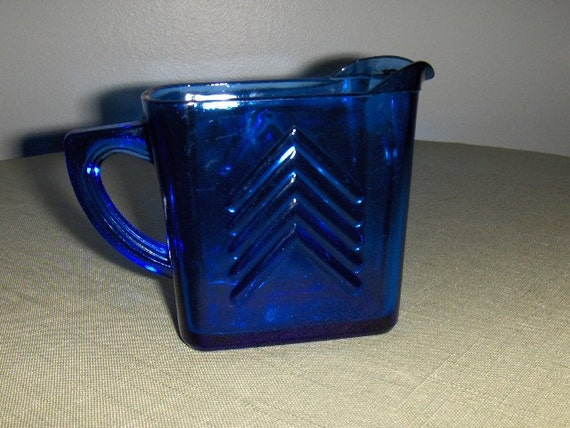 Vintage colbalt blue cream pitcher