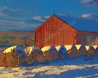Barn with Hay Fine Art Photography, Enhanced Digital Art, Home Decor, Office Wall Art, 11x14 Giclee Print, EBSQ
