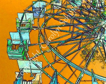 Ferris Wheel Art Print, Digital Photography, Carnival Art, Giclee print, Nursery wall art