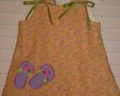 Custom Handmade Floral Flip Flop Applique Aline Jumper Size 12-18M