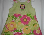 Custom Handmade Boutique Hawaiian Floral with Hula Girl Embroidery Aline Jumper 12M,2T,3T,4T,5T,6T