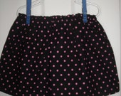 Custom Boutique Skirt Black with Hot Pink Polka Dots 12m,18m,24m,2t,3t,4t,5t,6t