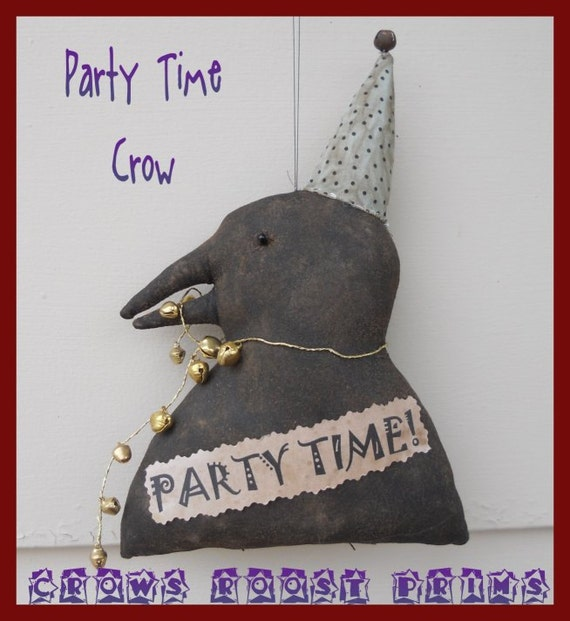 Crow  Primitive Celebrations Party 300e Crows Roost Prims epattern SALE immediate download