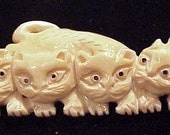 Carved Bone Cats Focal Pendant Antique Colored