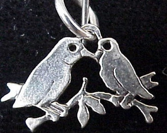 Lovebird Flat Charm or Pendant Sterling Silver