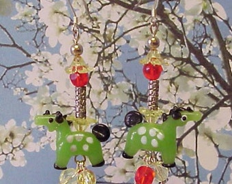 Green Horse Lampwork Sterling Silver Earrings