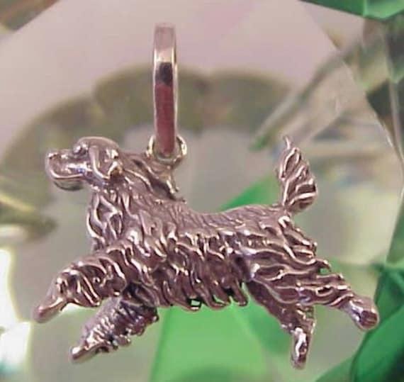 Sterling Silver Springer Spaniel 3D Charm or Pendant