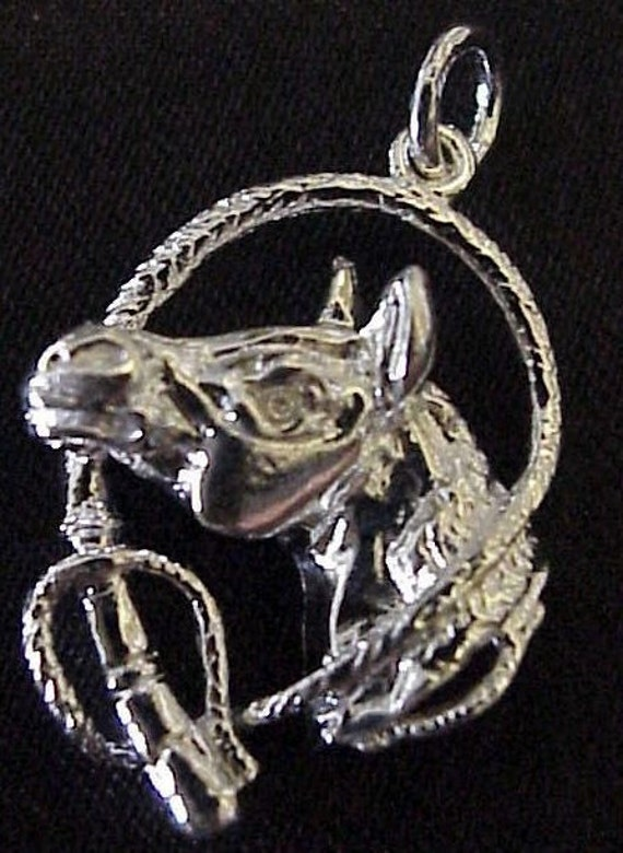 Sterling Silver Horse Head with Rope Pendant or Charm
