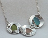 Triple Sterling and Sea Glass Necklace