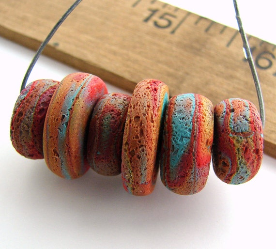 Handmade Polymer Clay Disc Beads - Rustica Erosion