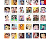 Betty Boop Scrabble Tile Pendant Inchies Collage Scrapbook Digital PDF sheet with tutorial.